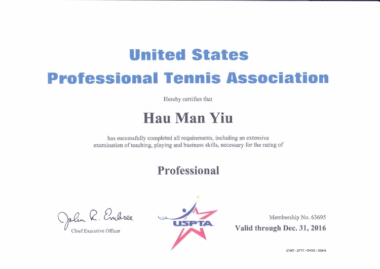 USPTA 牌照 / USPTA Professional Coach