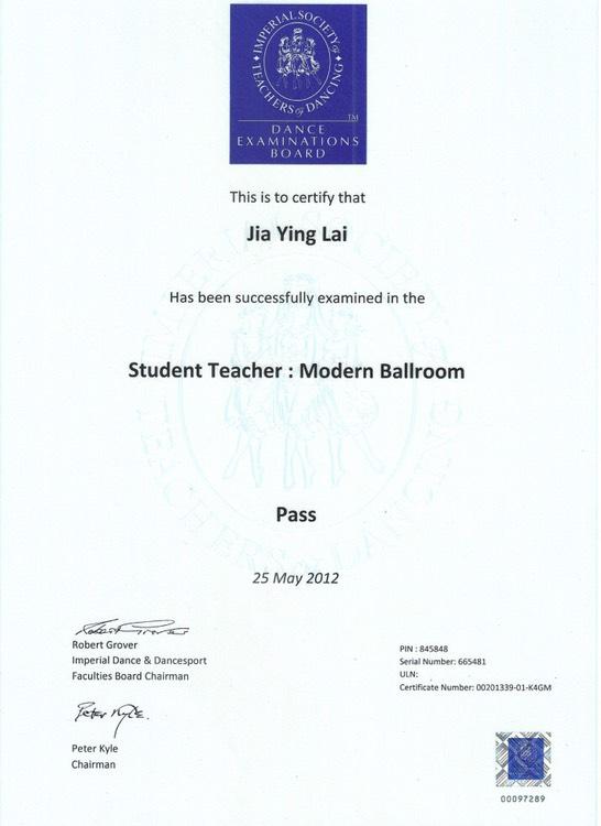 摩登舞英國皇家學生教師證