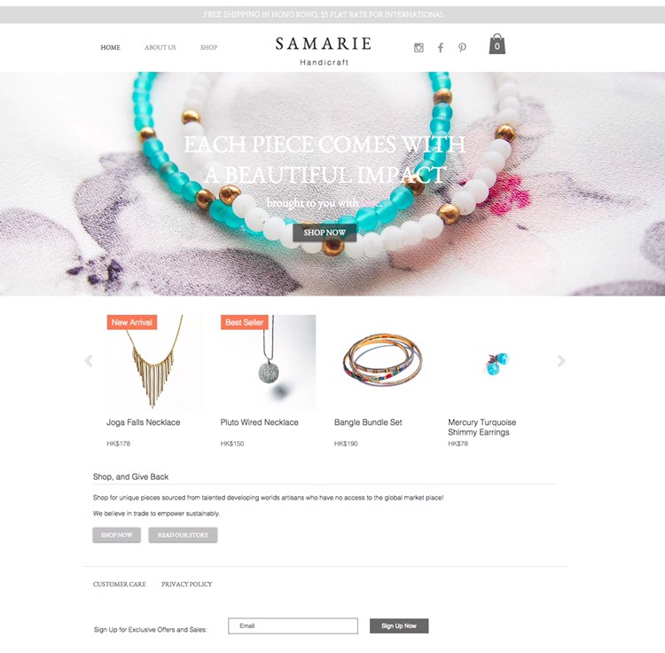 ecommerce site design & photography