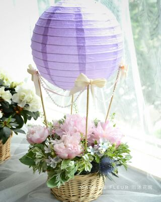 Hot air balloon flower deco with peony. 熱氣球花飾 (牡丹)