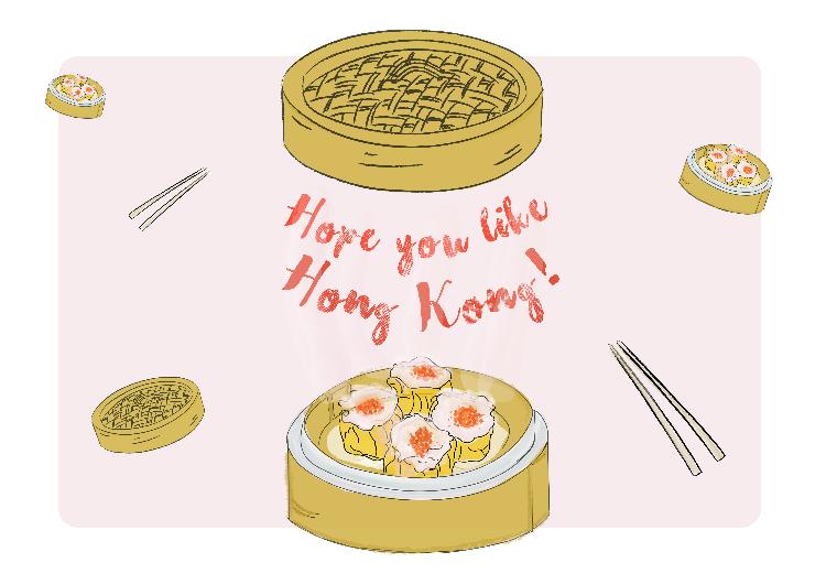 Farewell card: Hope you like Hong Kong!