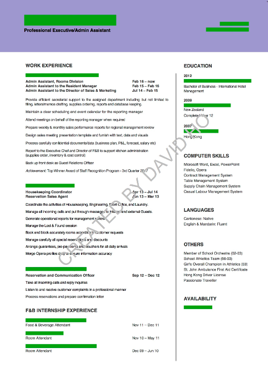 CV sample - adm / secretary