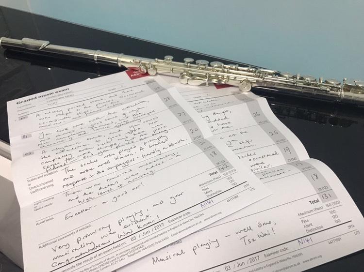 英國皇家音樂學院二級長笛考試成績優異