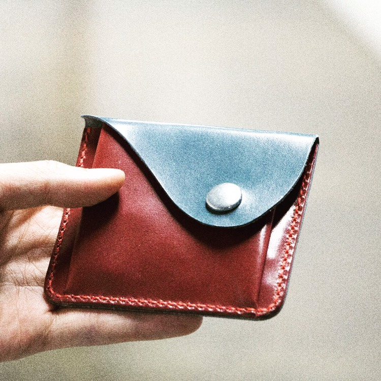 Hand sewn slim leather wallet