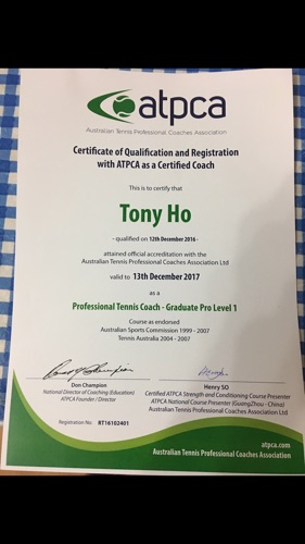 ATPCA Level 1 tennis coaching certificate