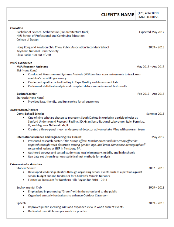 CV prepared for an architecture student