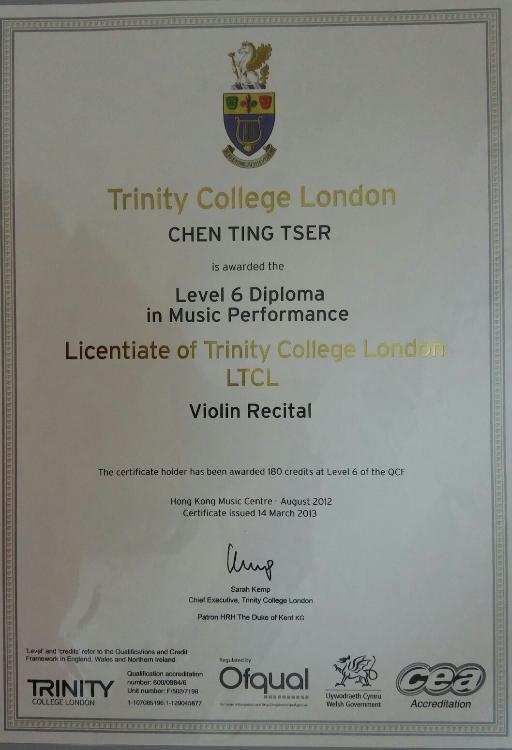 Certificate Proof for the LTCL Violin