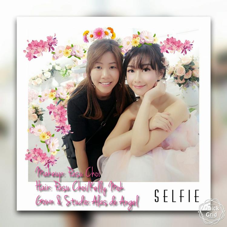 網紅Akina為婚紗店拍攝宣傳硬照, Kelly好高興可幫手為她set頭。